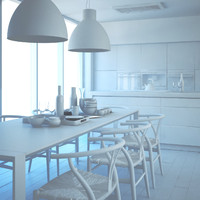 white modern kitchen 3d model