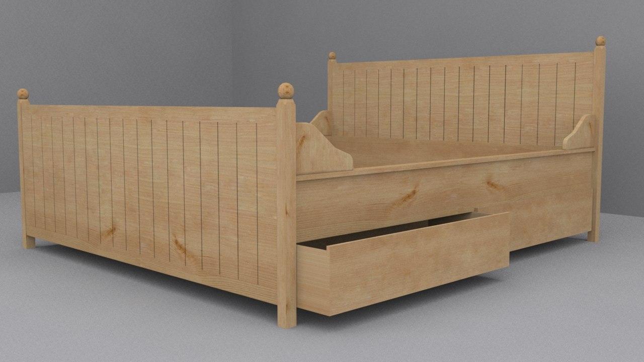 ikea hurdal bed frame 3d model