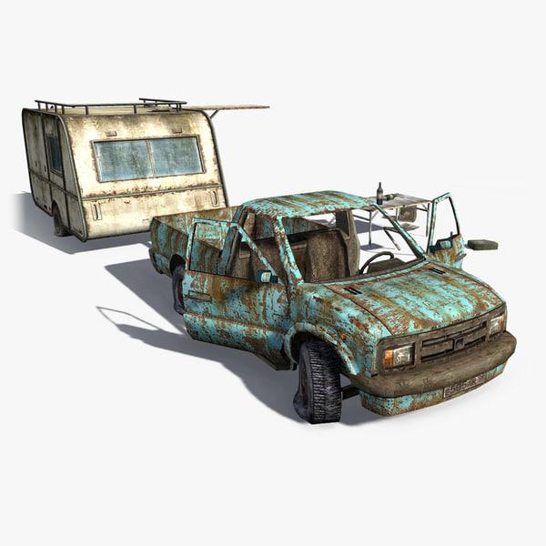 rusty trailer scene pickup 3d model