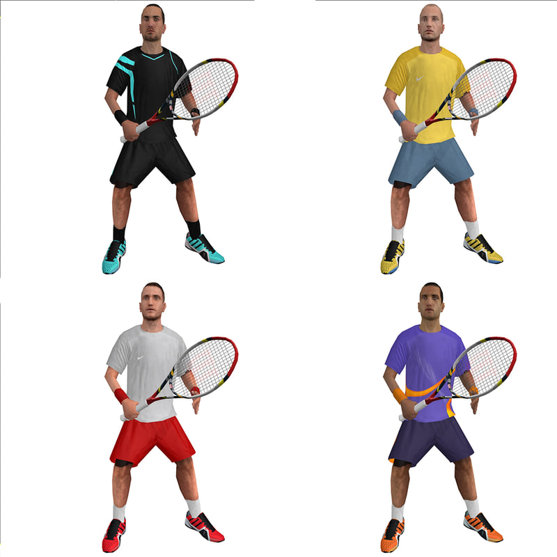 3d model rigged tennis players