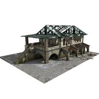 3d model building abandoned