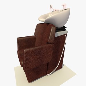 salon backwash bowl leather chair 3ds