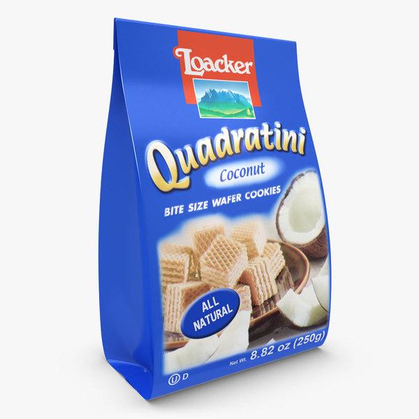 3d realistic loacker coconut quadratini model