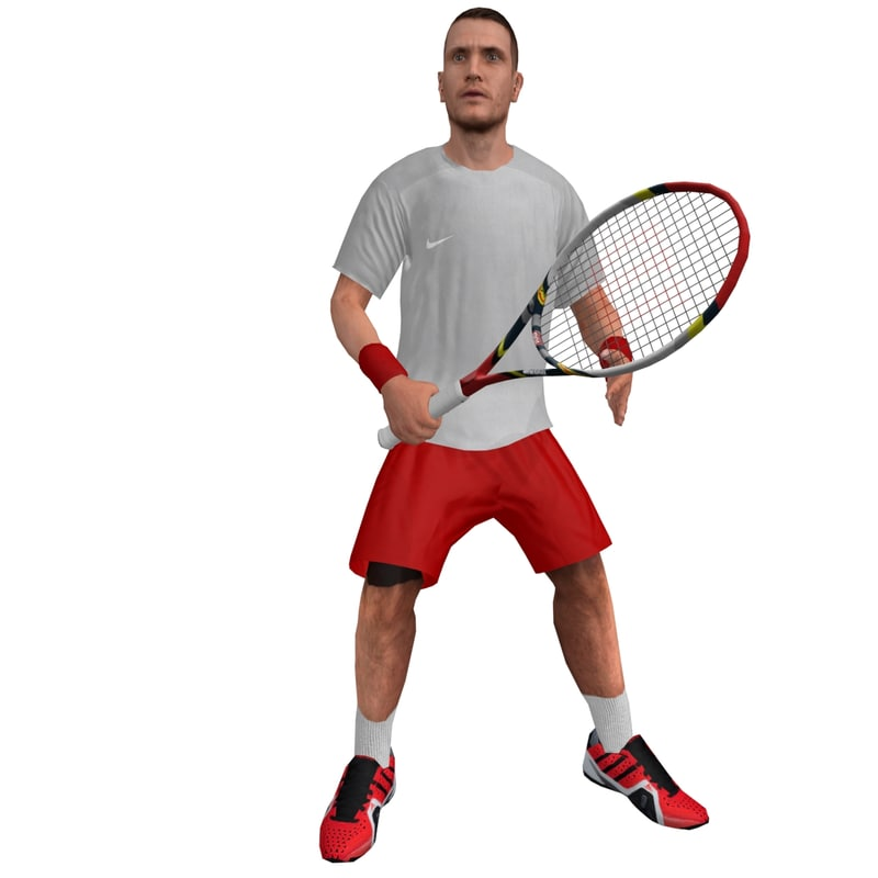 3d rigged tennis player 3 model