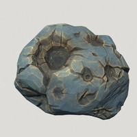 3d low-poly blue asteroid model
