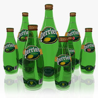 3d perrier mineral water set