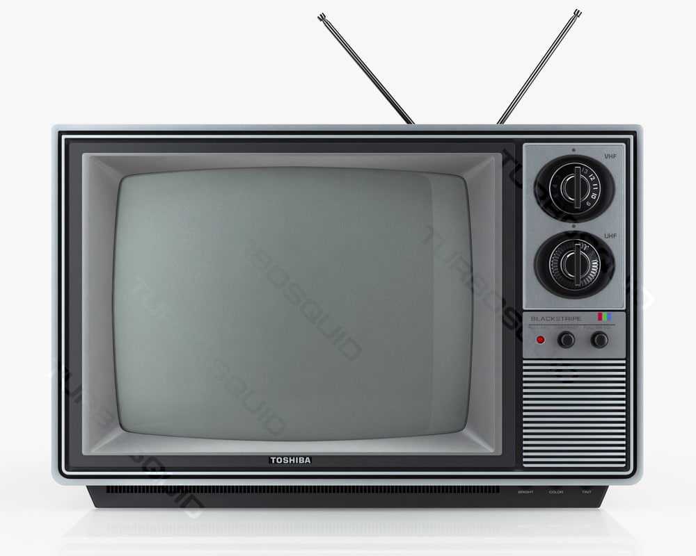 3d model retro tv blackstripe