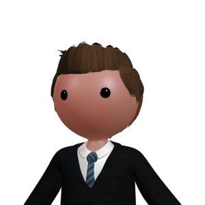 rigged cartoony character human ik 3d model