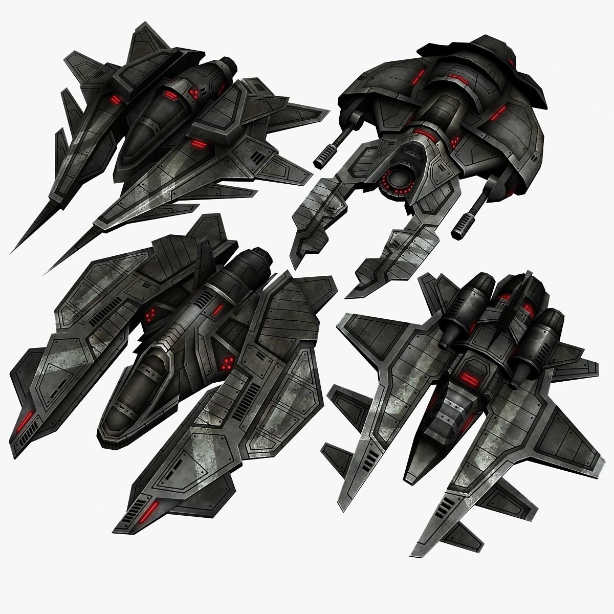 4 sci fi space fighters 3d model