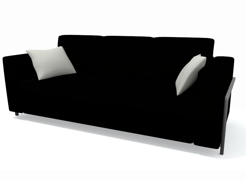 3d stylish black sofa