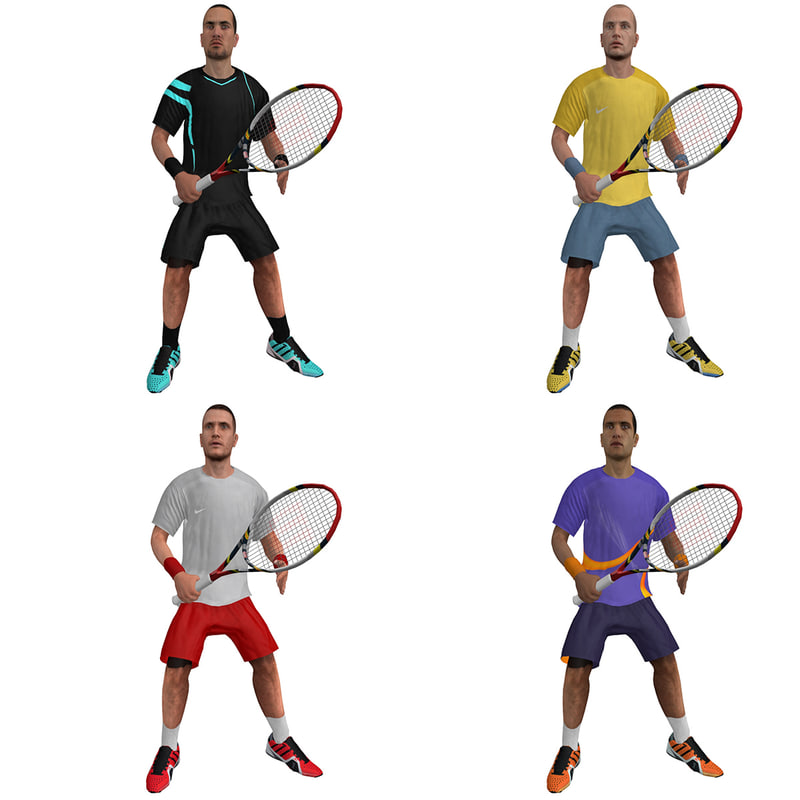 rigged tennis players 3d model
