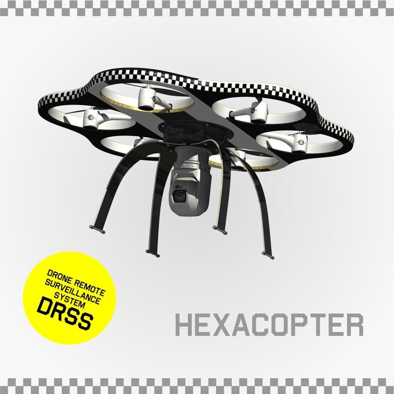 drone remote surveillance 3d model