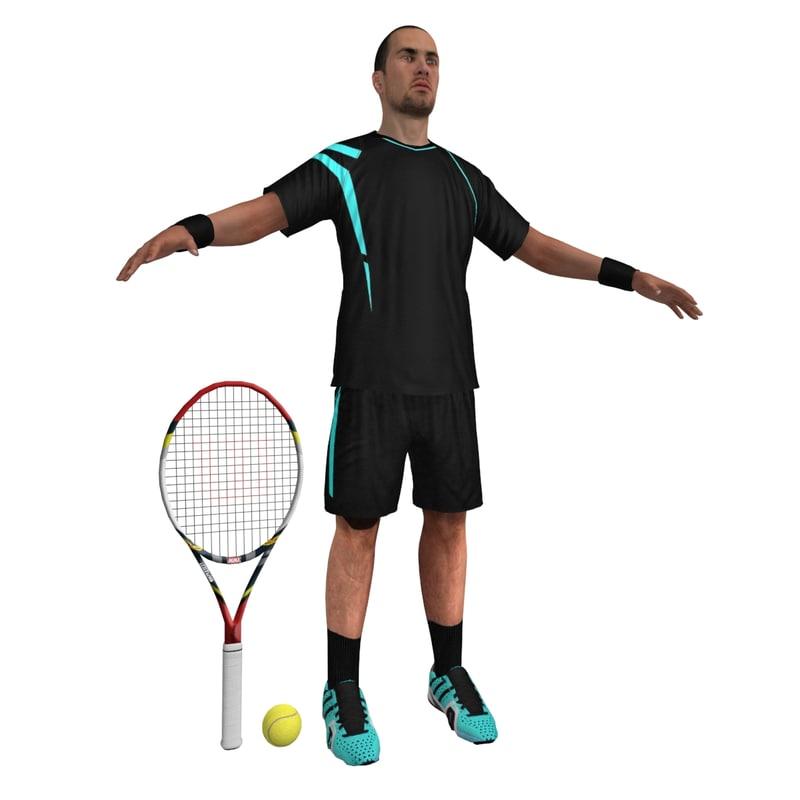 3d tennis player model