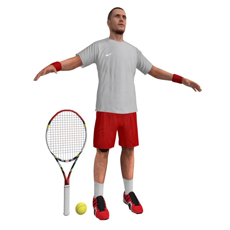 3d tennis player 3
