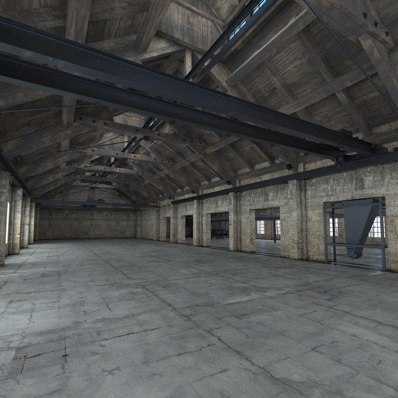 warehouse modelled crane 3d model