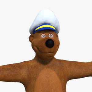 3d model cartoon bear rigged