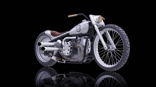 3d model bike custom oppozite engine