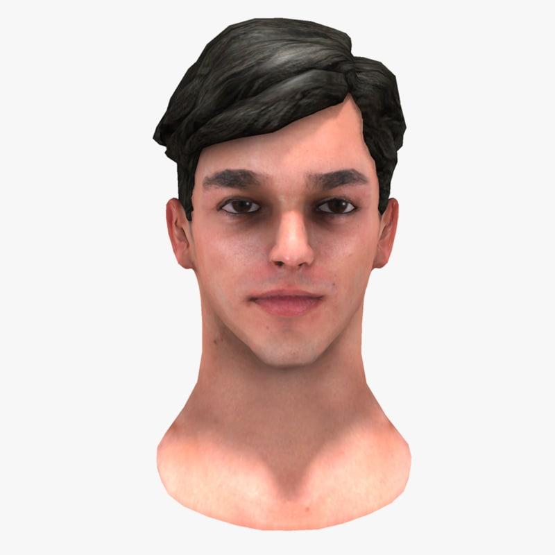 male head 3d ma