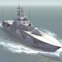 3d model hswms visby warship navy