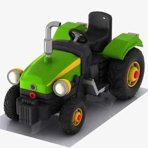 cartoon tractor toon 3d model
