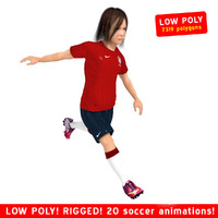 3d soccer girl player rigged