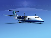 dhc-8-100 dash 8 airliner 3d 3ds