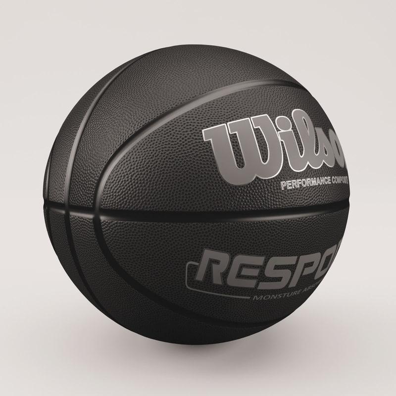 3d model basketball wilson black