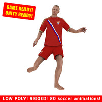 3d model ready beach soccer player