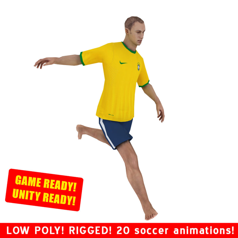 3d model ready beach soccer player