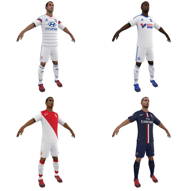 3d soccer players 1 model