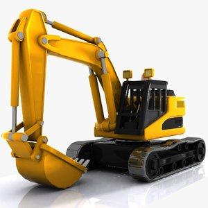 3d model cartoon excavator car