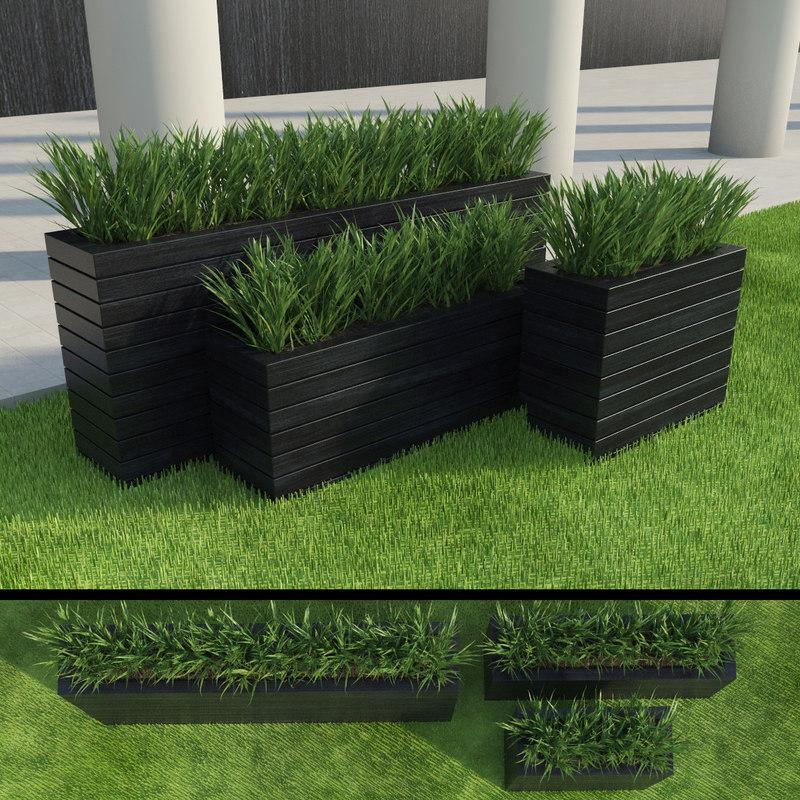 obj modern grasses set