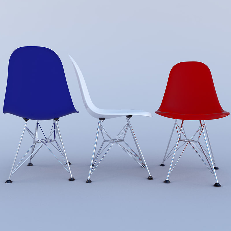 eames plastic chairs 3d model