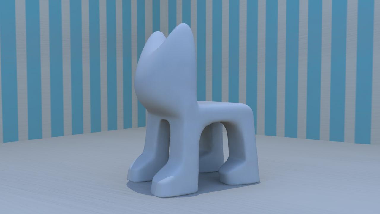 cute chair shaped cat obj