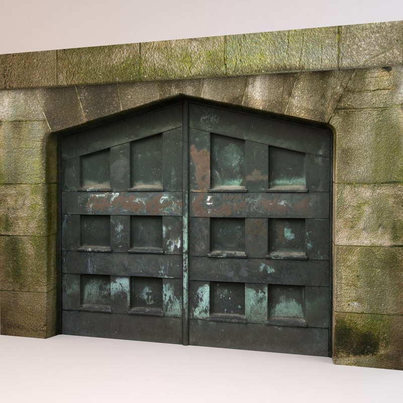 door dark weathered 3d max