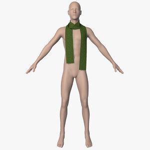 3d model of scarf men animation