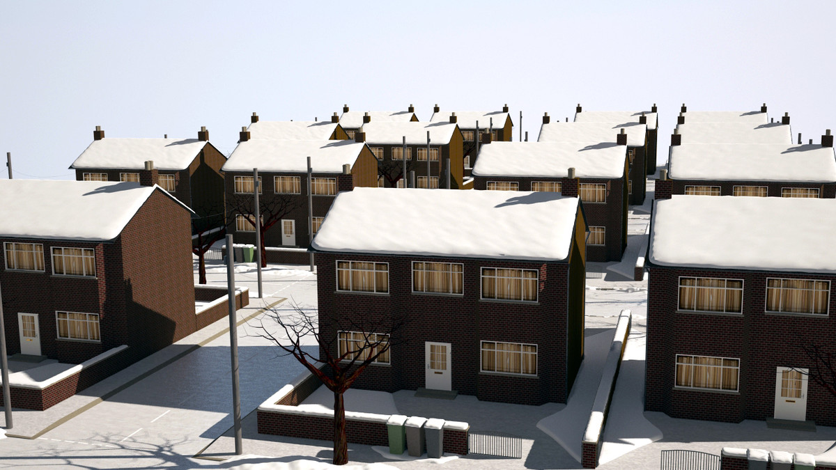 suburban street winter christmas snow 3d model