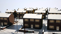 3d suburban street winter christmas snow model