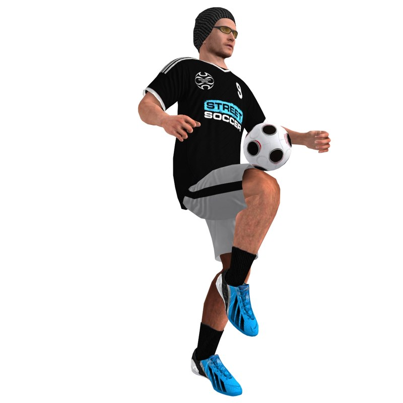 rigged street soccer player 3d model