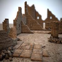 3d modular castle ruins