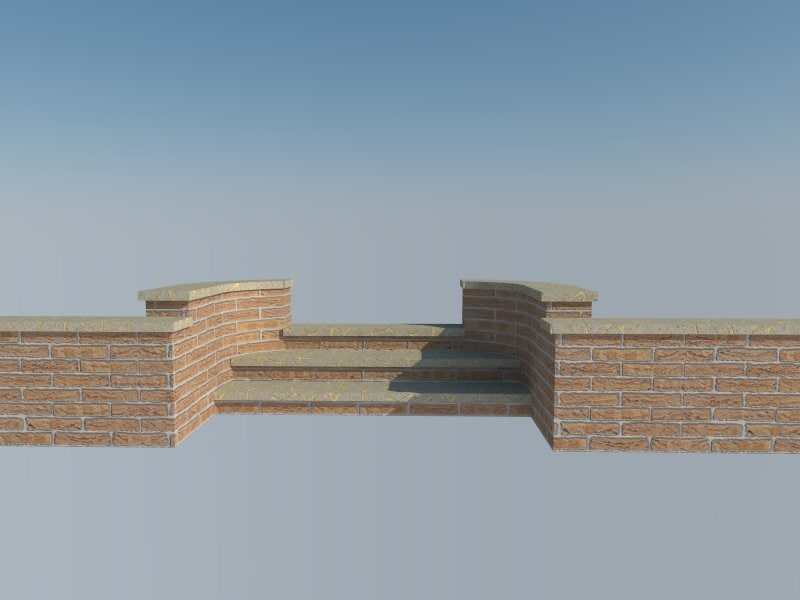 3d brick steps model