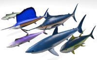 Tropical Deep Sea Fish Pack - 6 Fish Collection with poses