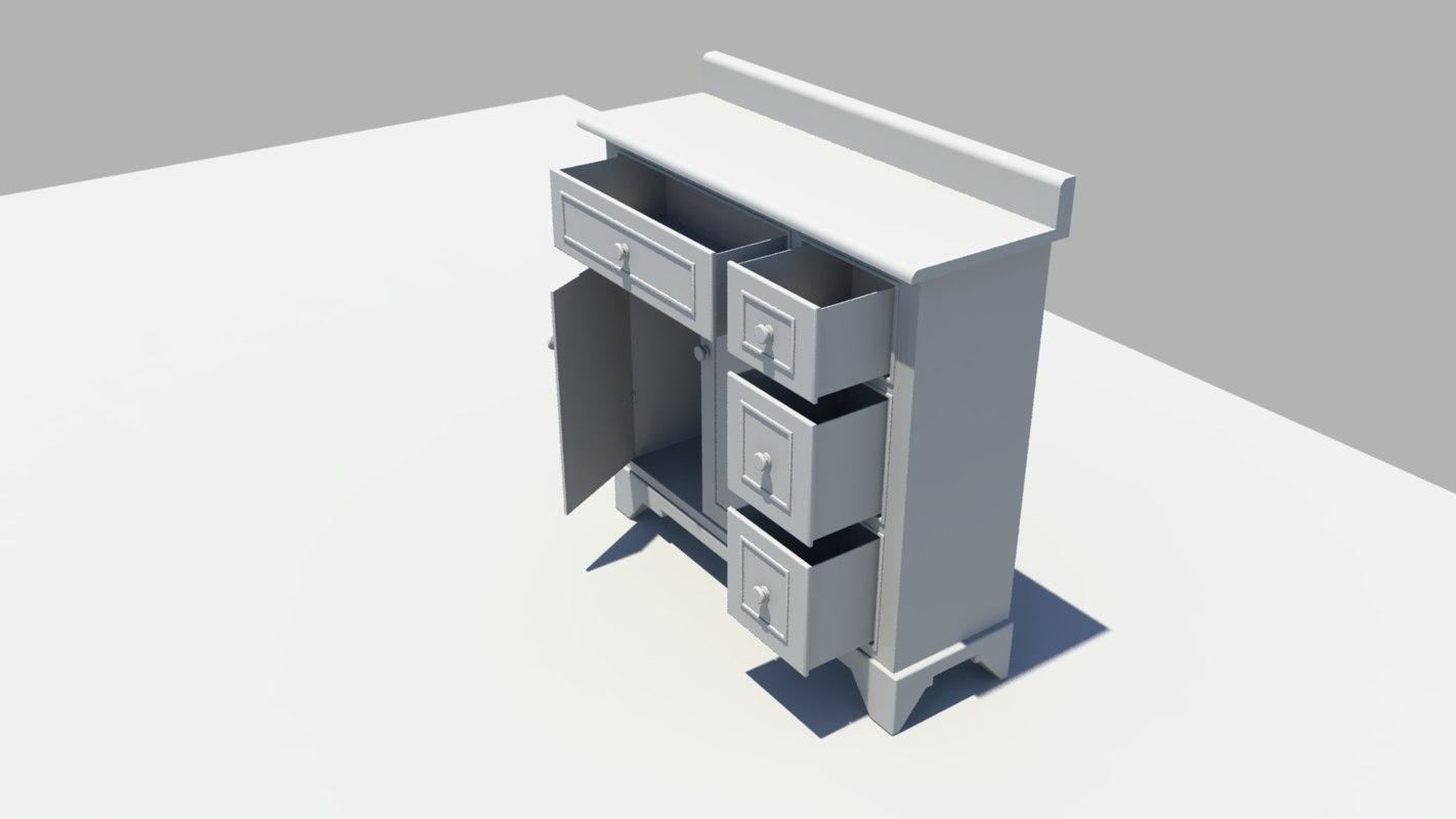 3d fbx complete cabinet