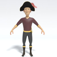 3d cartoon pirate captain model