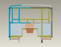3d metal frame cab dump truck