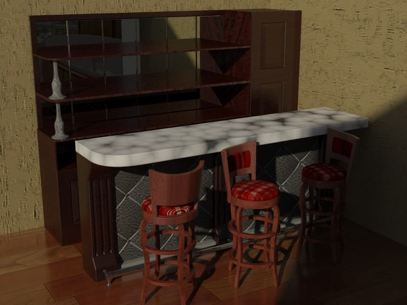3d model bar counter