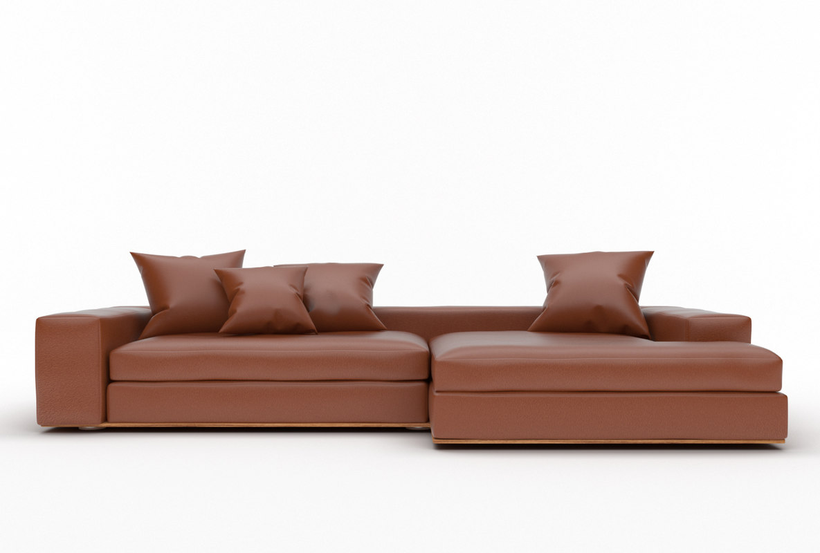 3d model modern sofa brown