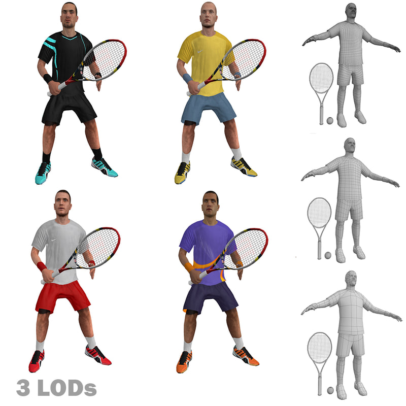 rigged tennis players 3d max