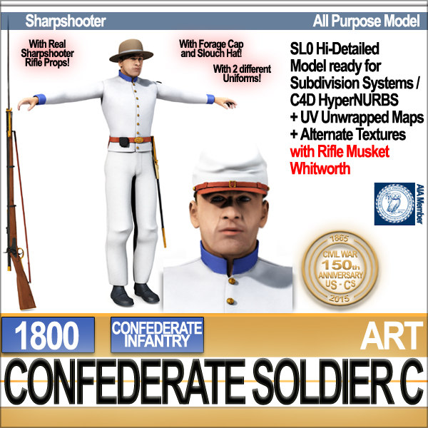 3d civil war confederate soldier model