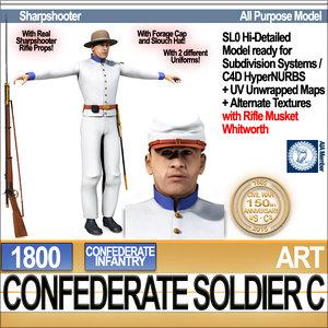 3d civil war confederate soldier model